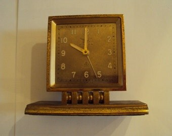 Dinson Clock Co. Brass Alarm Clock VINTAGE