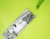 sweet small girl BOOKMARK in black and white with green ribbon