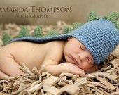 Crocheted Newborn Dino Hat with Tail PDF Pattern