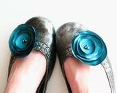 Teal Satin Shoe Clips with Real Pearls