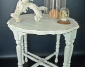 RESERVED Table Shabby Chic Cottage Beach Aqua White 1930s Demi Lune Upcycled Painted Wood