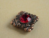 1 Pcs Ruby Rhinestone Antique Copper Two Hole Spacers
