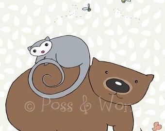 Childrens art print Poss and Wom
