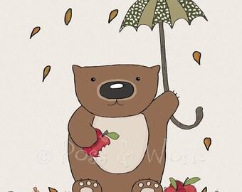 Childrens art print Wombat Munchies