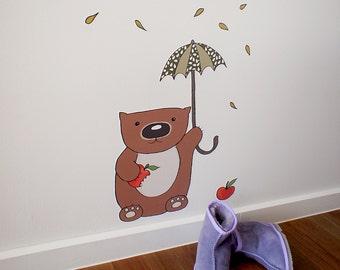 Wall decal, adhesive fabric Wombat Munchies