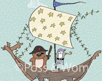 Childrens poster print A Wombat went to Sea