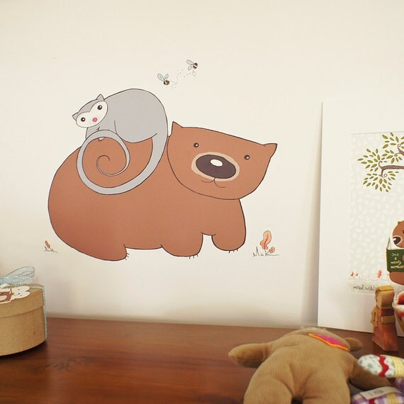 Wall decal, adhesive fabric Poss & Wom