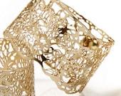 gold bracelet, Lace Bracelet, bridal jewelry,wide gold cuff bracelet