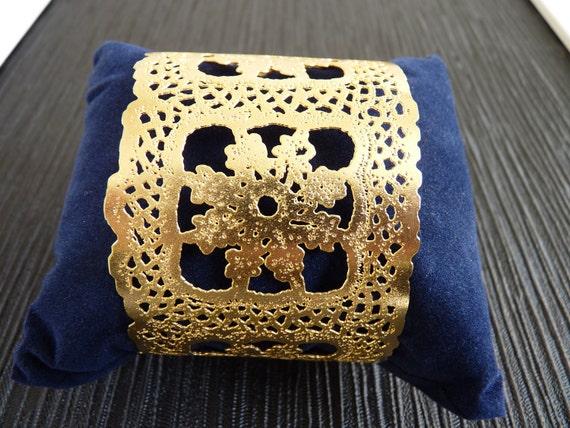 Wide gold bracelet Metal Lace square 24 gold karat plated