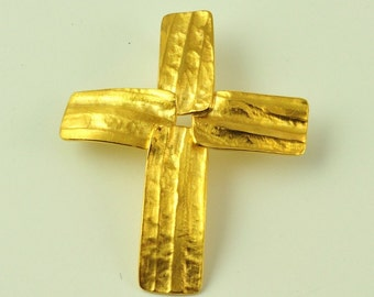 22K Solid Gold, Handcrafted Cross, No 060- 33