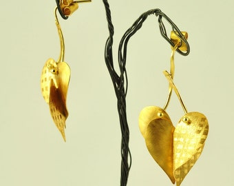 22K Solid Gold Hearts Earrings, No 019-1