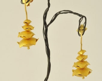 24K Solid Gold, Handcrafted Earrings, No. 032- 1
