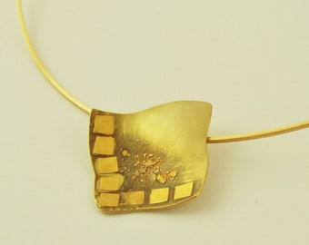 18K and 24K Solid Gold, Handcrafted Pendant, No. 067- 3