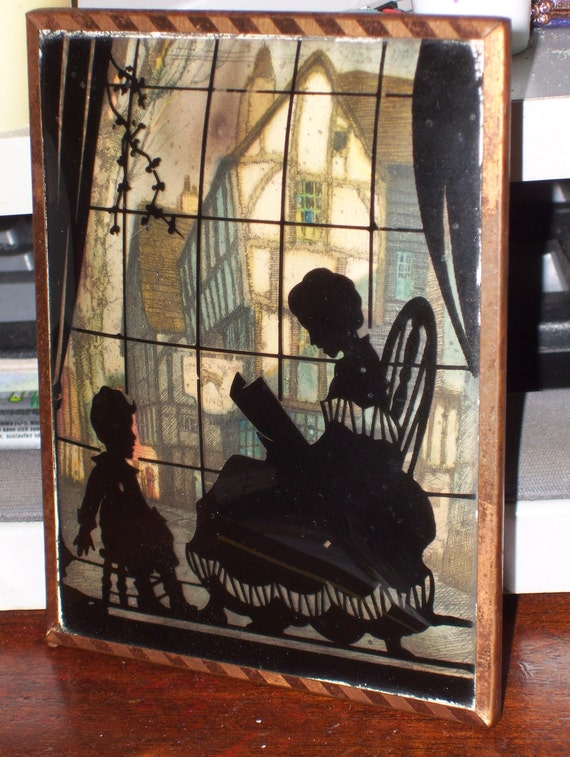 Vintage Reverse Silhouette Painting on Rounded Glass