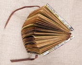 Brown Leather Notebook / Sketchbook / Journal. Coffee stained watercolor paper, 5x6 inches