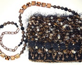 Tiger Eye Daisy - black, brown and gold evening purse with