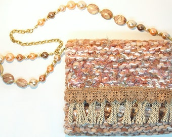 Camelot - soft camel and pink knitted purse with lace, fringe and beads