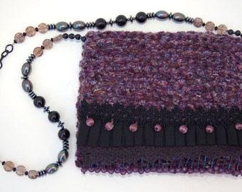 Mulberry Bauble - black and purple evening purse with lace, ruffles and beads