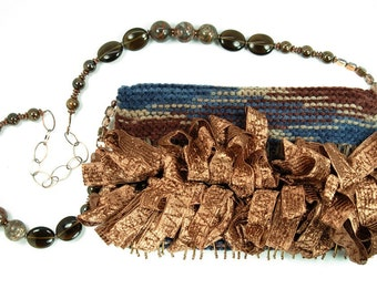Cocoa Silk - evening bag in brown and navy with ruffles and beads