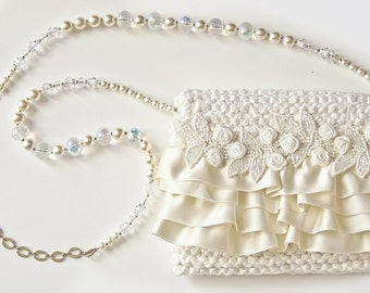 Matrimonial Ruffle - ivory evening bag with ruffles, flowers and beads