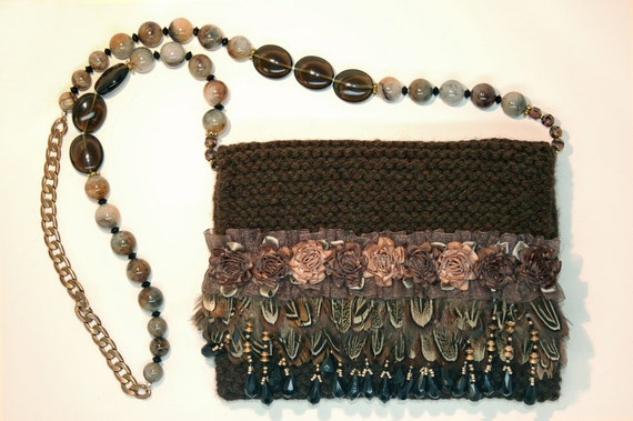 Feathered Rose - Brown and taupe handcrafted evening purse with beads, feathers and satin rosettes.