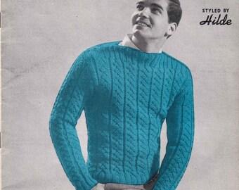 Men's Knitting Pattern Booklet  - Men's Fashions in Wool   1966