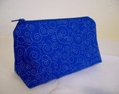 Cosmetic Bag - Blue with White Swirls