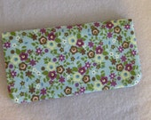 Fabric Checkbook Cover - Tiny Flowers on Powder Blue