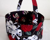 Halloween Trick or Treat Bag - Skulls and Roses
