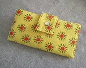 Fabric Wallet - Bright Suns on Yellow Background