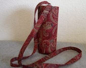 Insulated Water Bottle Carrier - Red Paisley