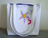 Canvas Tote Bag -- White with Flower Appliques