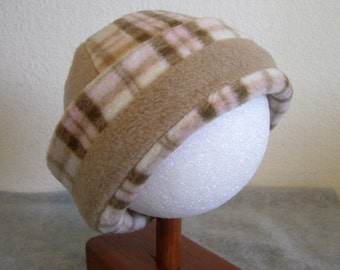 Fleece Beanie - Plaid with Tan Band - Large 1-2 years