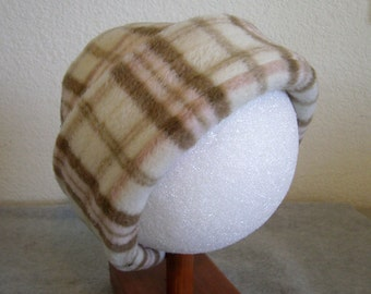 Fleece Beanie - Plaid - Large 1-2 years