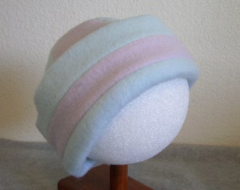 Fleece Beanie - Blue and Lavender - Large 1-2 years