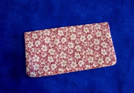 Fabric Checkbook Cover - Pink Flowered