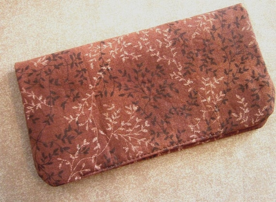 Fabric Checkbook Cover - Brown with Vines and Leaves