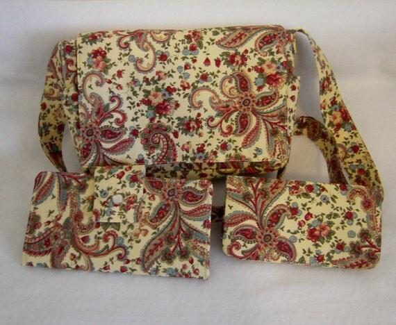 Vintage Cream Paisley Shoulder Bag Set - One of a Kind