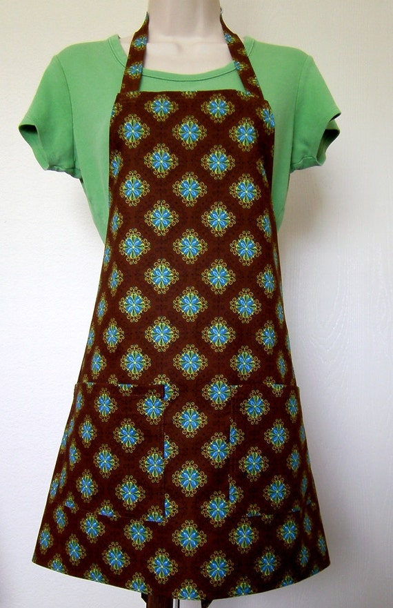 Full Apron - Brown with Blue Flowers
