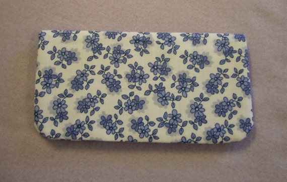 Fabric Checkbook Cover - Blue Flowered