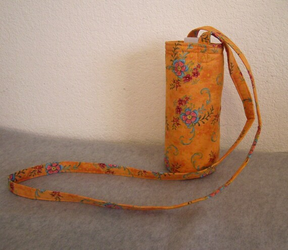 Insulated Water Bottle Carrier - Orange Floral Fabric