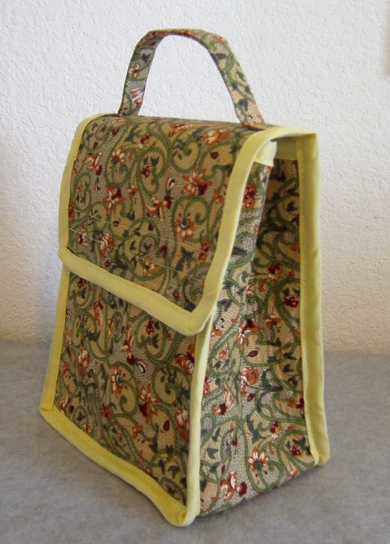 Insulated Lunch Bag - Green Floral