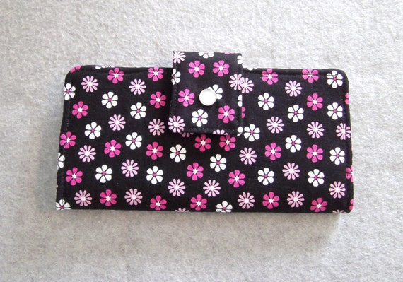 Fabric Wallet - Pink and White Flowers
