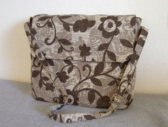 Brown Floral Canvas Messenger Bag -- Brown Floral Canvas Courier Bag