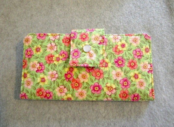 Fabric Wallet - Green Floral