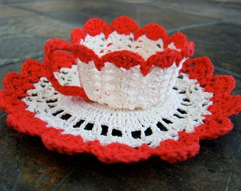 Tiny Crocheted Tea Cup and Saucer
