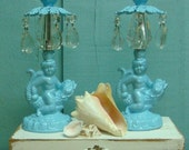 Vintage Blue Cherub Baby Neptune Candlesticks With Crystals