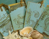 Turquoise Sun Sand Sea Beach Weathered Wood Chalkboard Tag Labels - 4