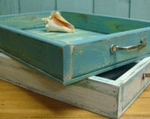 Turquoise Sea Green Weathered Tray With Vintage Handles
