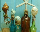 Vintage Turquoise Reef Avon Seashell Apothecary Bottle Abalone and Skeleton Key